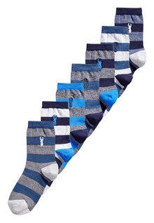 Next Stag Embroidered Rugby Stripe Socks Seven Pack (Older)