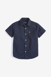 Next Short Sleeve Printed Oxford Shirt (3-16yrs)
