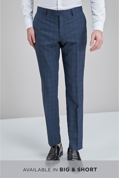 Next Check Wool Mix Slim Fit Trousers
