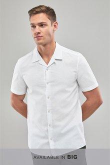 Next Short Sleeve Linen Blend Rever Collar Shirt