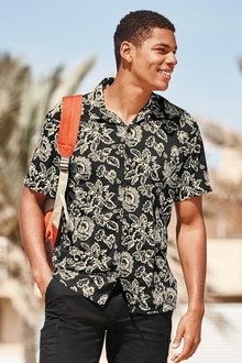 Next Short Sleeve Revere Collar Paisley Print Shirt - 237027
