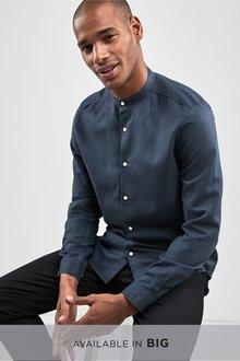 Next Linen/Cotton Grandad Collar Long Sleeve Shirt