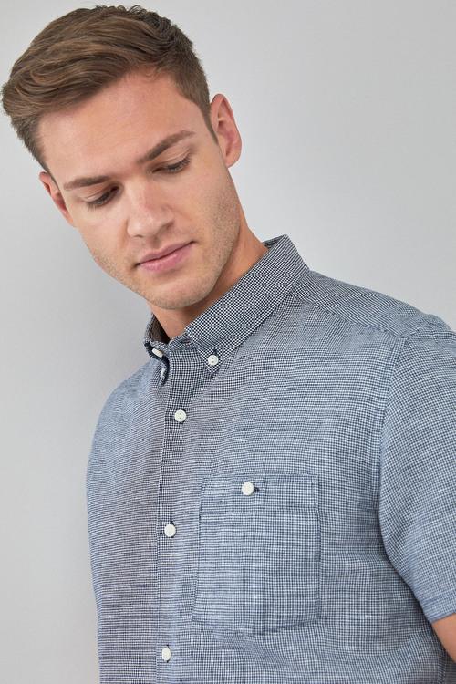 Next Puppytooth Linen/Cotton Short Sleeve Shirt