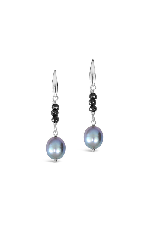 By Fairfax & Roberts Pearl and Haematite Earrings