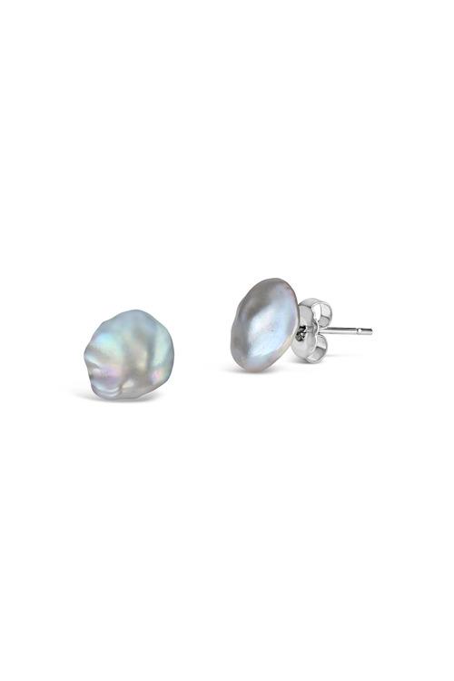 By Fairfax & Roberts Real Keshi Pearl Stud - Silver