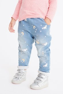 Next Unicorn And Rainbow Print Pull-On Jeans (3mths-7yrs)