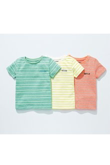 Next Textured Stripe T-Shirts Three Pack (3mths-7yrs)