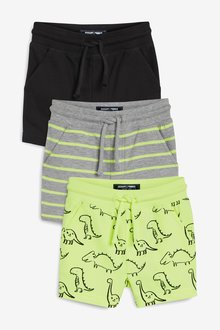 Next 3 Pack Fluro Dino All Over Print Shorts (3mths-7yrs)