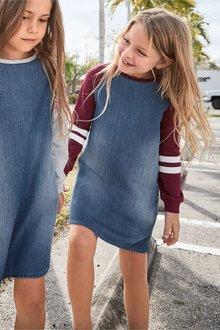 Next Denim Jersey Sleeve Dress (3-16yrs)