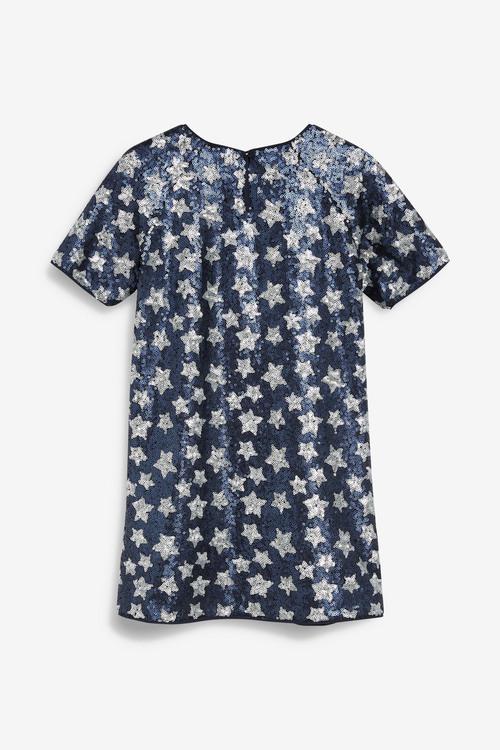 Next Sequin Star Shift Dress (3-16yrs)
