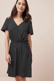 Next Lace Detail Jersey Wrap Dress- Tall
