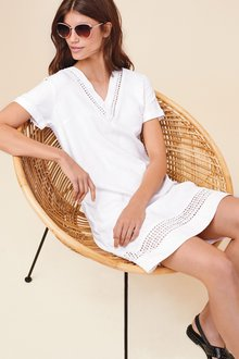 Next Linen Blend T-Shirt Dress-Tall