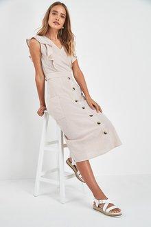 Next Stripe Frill Sleeve Button Dress
