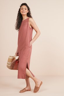 Next Linen Blend Midi Dress- Tall