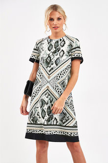 Next Border Print Shift Dress