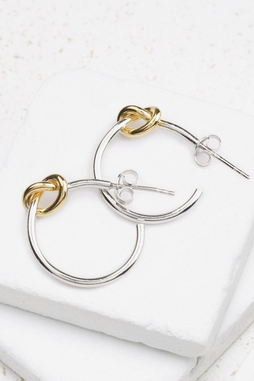 Next And 18 Carat Gold Plated Knot Detail Hoop Earrings