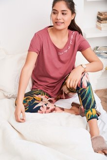 Next Floral Slogan Pyjamas- Petite