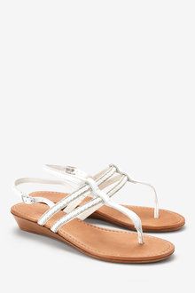 Next Leather Low Wedges With Toe Post