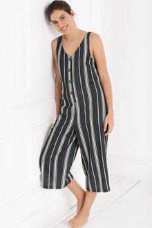 Next Stripe Linen Blend Jumpsuit