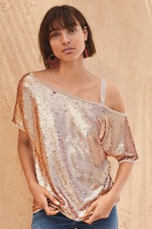 Next Sequin One Shoulder Jumper- Petite