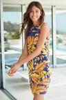 Next Linen Blend Shift Dress-Petite
