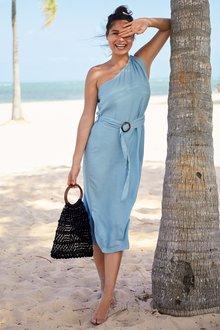 Next Linen One Shoulder Dress