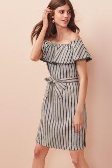 Next Linen Blend Off The Shoulder Dress