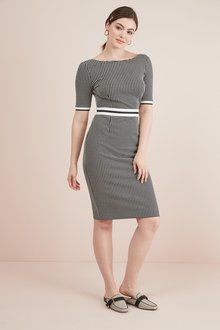 Next Textured Jersey Jacquard Dress- Petite