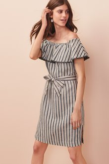 Next Linen Blend Off The Shoulder Dress- Tall