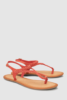 Next Leather Plaited Toe Thong Sandals