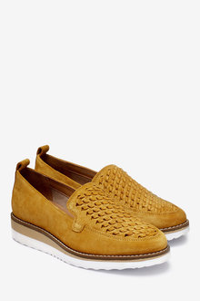 Next Leather EVA Woven Slip-On Loafers