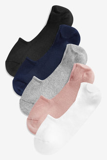 Next Cushion Sole Invisible Trainer Socks Five Pack