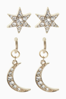 Next Star And Moon Earrings