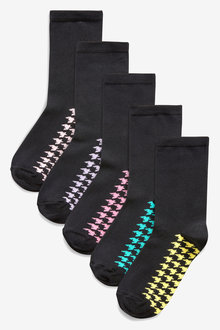 Next Houndstooth Bright Footbed Ankle Socks Five Pack
