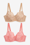Next Lizzie DD+ Non Padded Lace Balcony Bras Two Pack