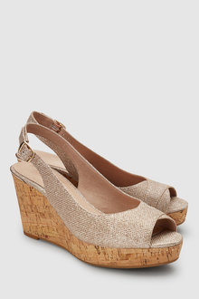 Next Leather Slingback Cork Wedges