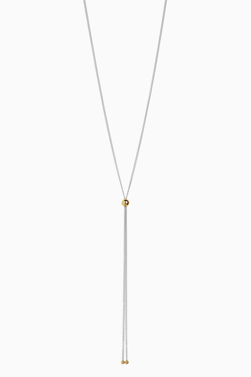 Next And 18 Carat Gold Plated Ball Detail Y Necklace
