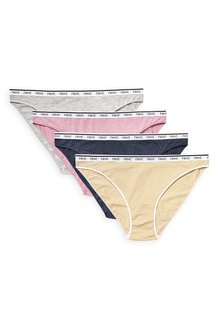 Next Cotton Rich Logo Knickers Four Pack