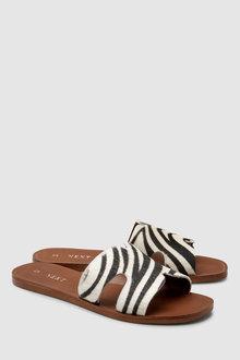 Next Leather Square Toe Mule Sandals