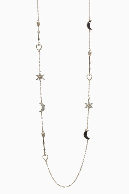 Next Star And Moon Motif Rope Necklace