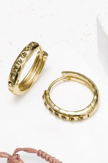 Next 18 Carat Gold Plated Pave Stone Hoop Earrings
