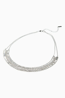 Next Crystal Effect Multi Row Statement Necklace