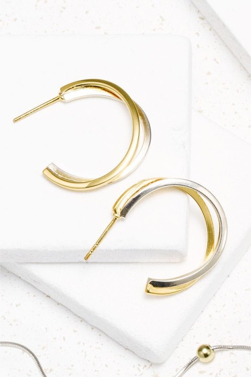Next And 18 Carat Gold Plated Two Row Hoop Earrings