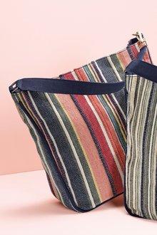 Next Canvas Stripe Hobo Bag