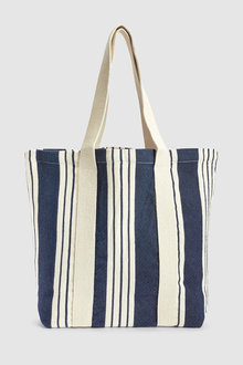 Next Canvas Stripe Shopper Bag