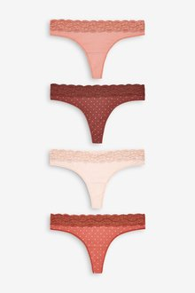 Next Lace Trim Cotton Knickers Four Pack- Thong