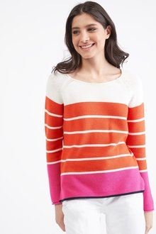Next Stripe Crew Neck Jumper- Petite