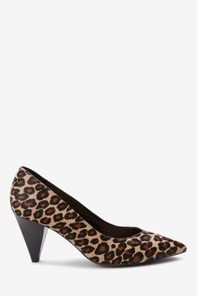Next Leather Cone Heeled Court Shoes- Regular