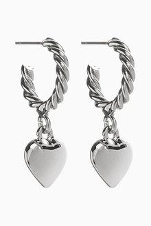 Next Heart Drop Twist Hoop Earrings