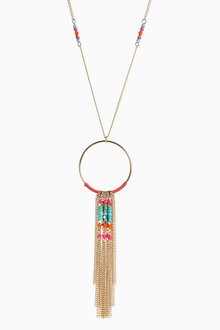 Next Multi Color Beaded Tassel Pendant Necklace